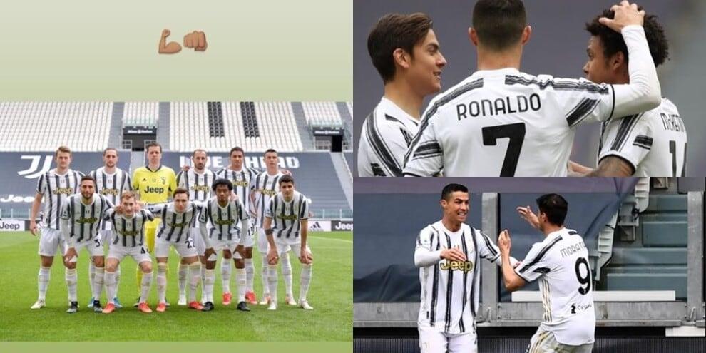 """Ronaldo guida la Juve in campo e sui social: """"Avanti così"""""""