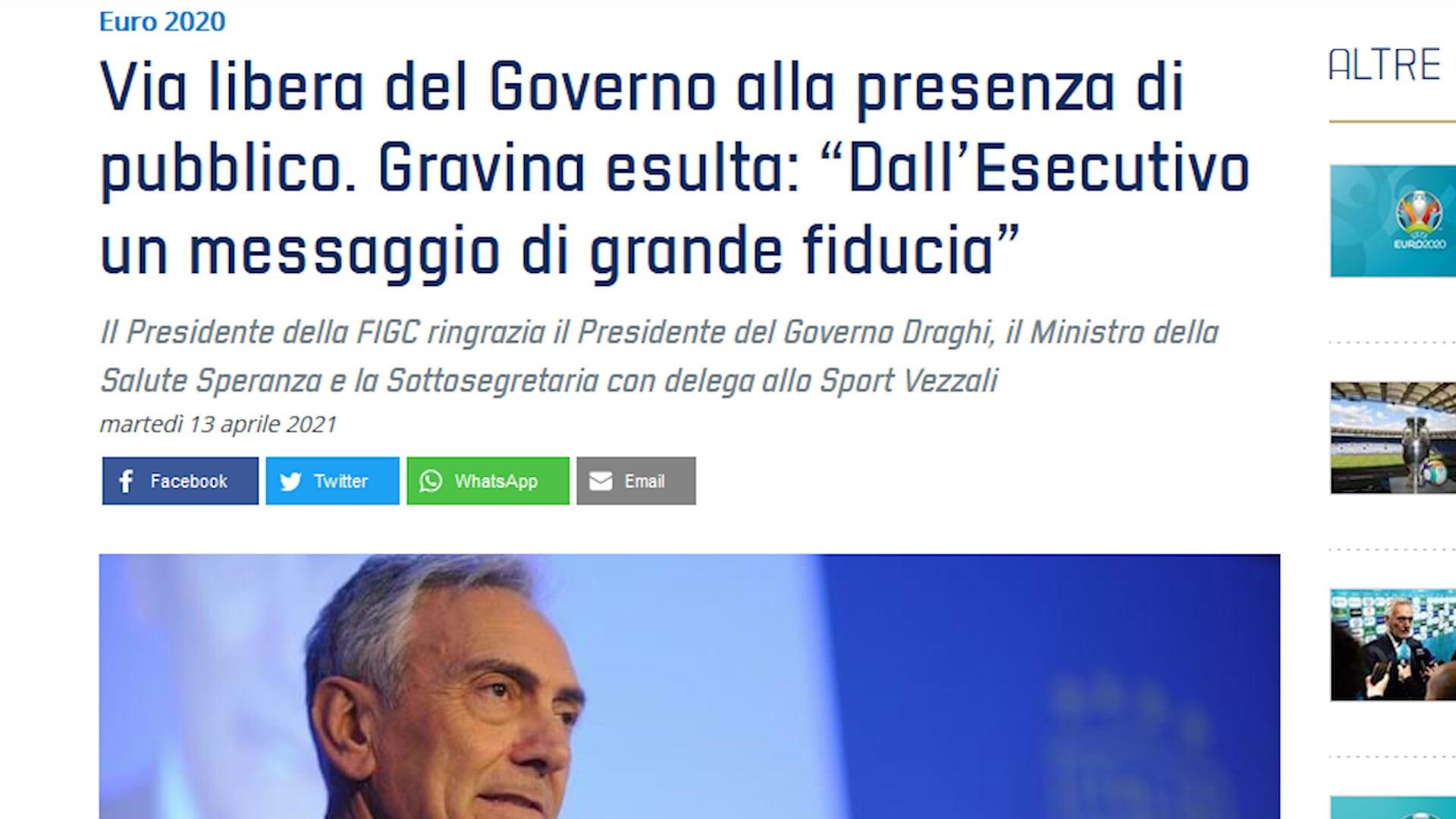 Euro2020, il governo italiano dà l'ok al 25% di tifosi all'Olimpico