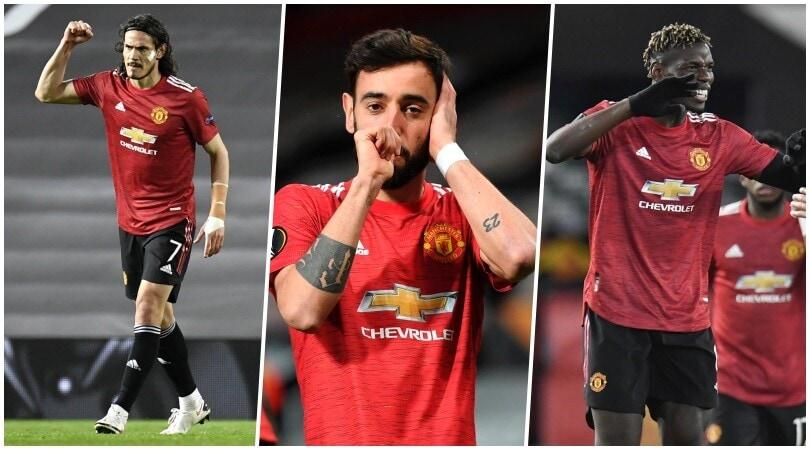 Cavani, Fernandes, Pogba e Greenwood: crollo Roma, United 6-2!