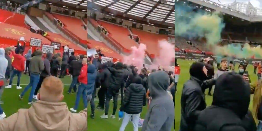 I tifosi del Manchester United invadono l'Old Trafford
