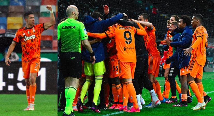 Juve, abbraccio di gruppo dopo il secondo gol di Ronaldo