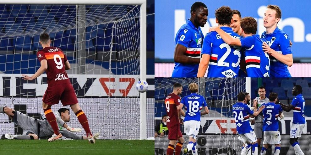 Dzeko, che errore su rigore! La Roma cade con la Sampdoria