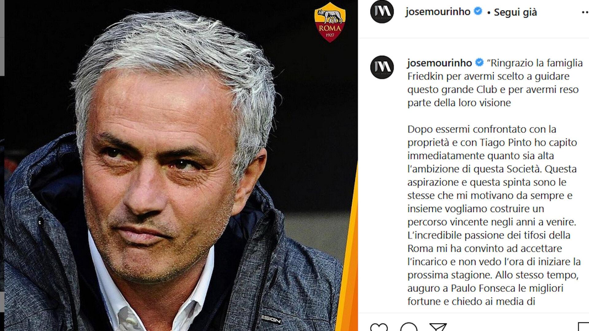 Clamoroso: Mourinho sarà l'allenatore della Roma