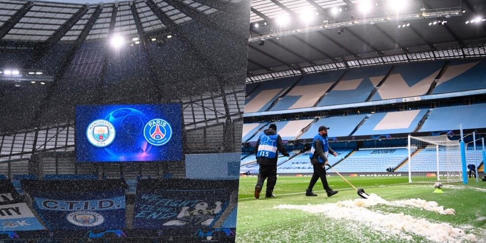 Manchester City-Psg, che grandinata prima della partita!