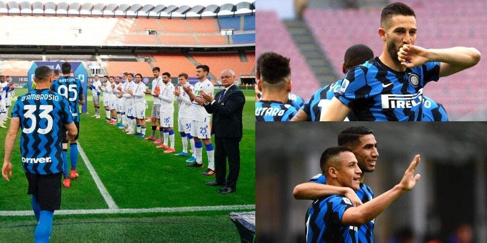 La Sampdoria fa passare l'Inter: cinquina di Conte a Ranieri