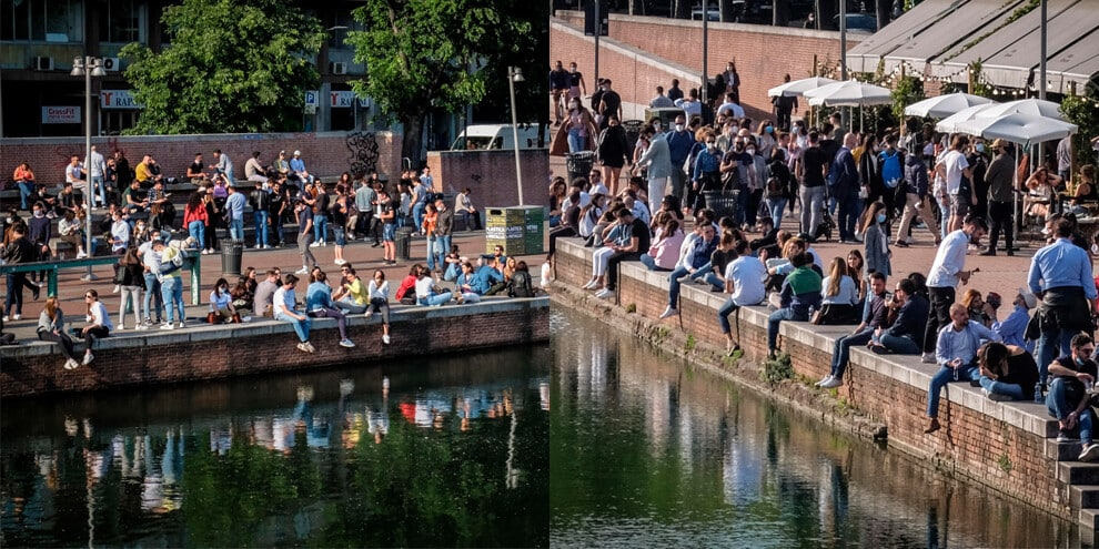 Assembramenti a Milano: Navigli presi d'assalto!