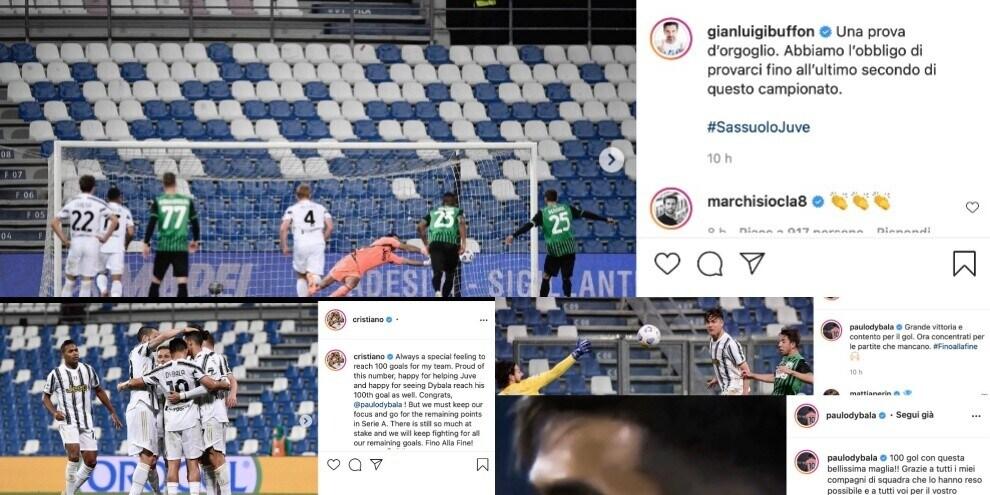 Juve, da Buffon a Ronaldo. La carica social dopo il 3-1 al Sassuolo