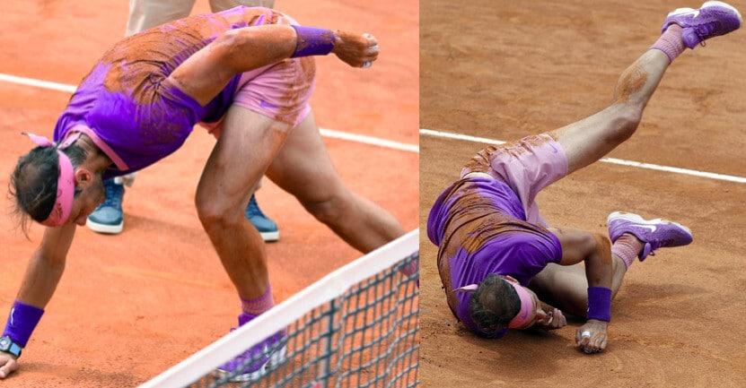 Nadal, che caduta nel primo set contro Zverev