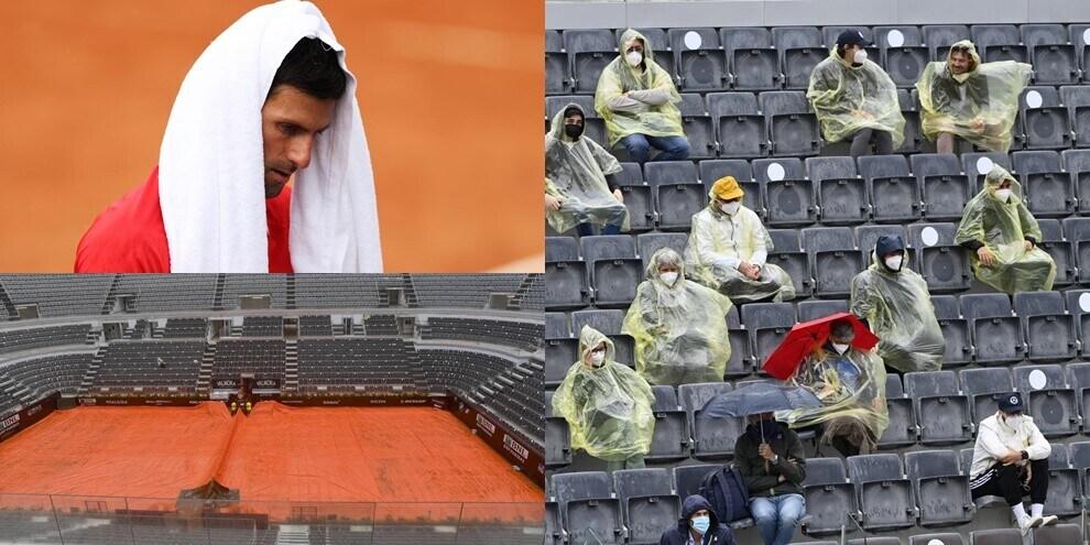 Il maltempo si abbatte su Roma: interrotto match Djokovic-Tsitsipas