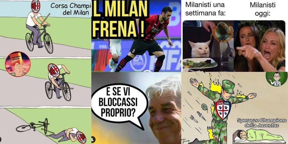 Il Milan pareggia e la Juve torna in corsa: il web si scatena
