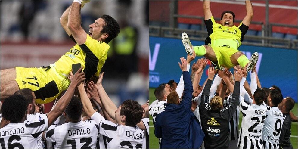 Juve, Buffon lanciato in aria durante i festeggiamenti per la vittoria
