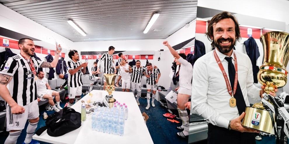 Juve, festa grande negli spogliatoi dopo la vittoria della Coppa Italia!