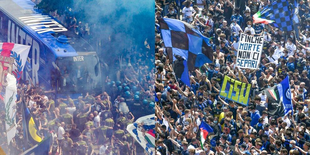 Inter, delirio dei tifosi a San Siro per la festa scudetto