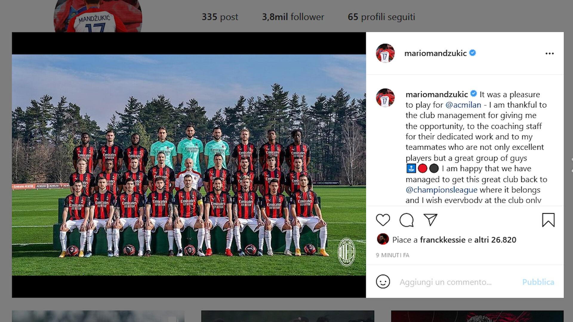 """Milan, Mario Mandzukic ai saluti: """"Un piacere giocare per questi colori"""""""