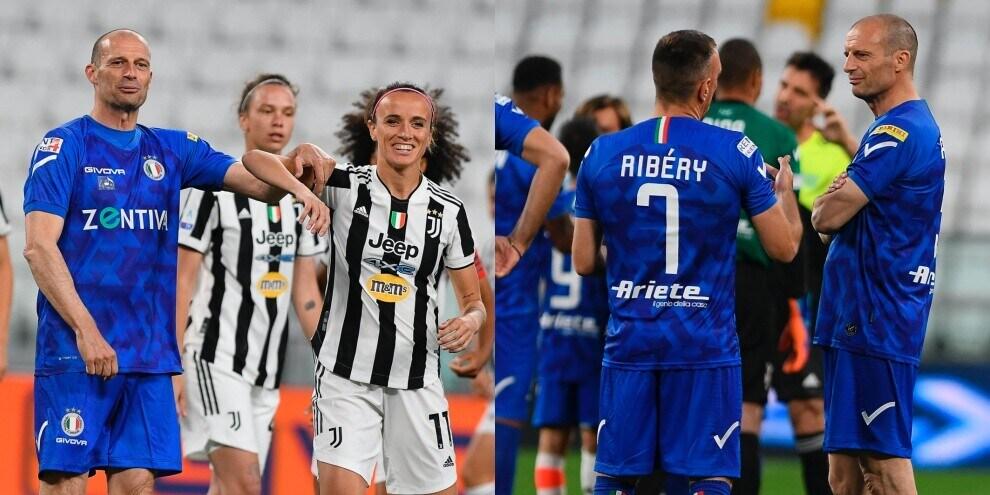Allegri alla Partita del Cuore: risate, geometrie e scambi con Ribery