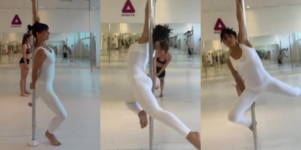 Ambra, che stile nella lezione di pole dance