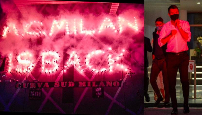 Milan, i tifosi festeggiano la Champions: torciata per la società
