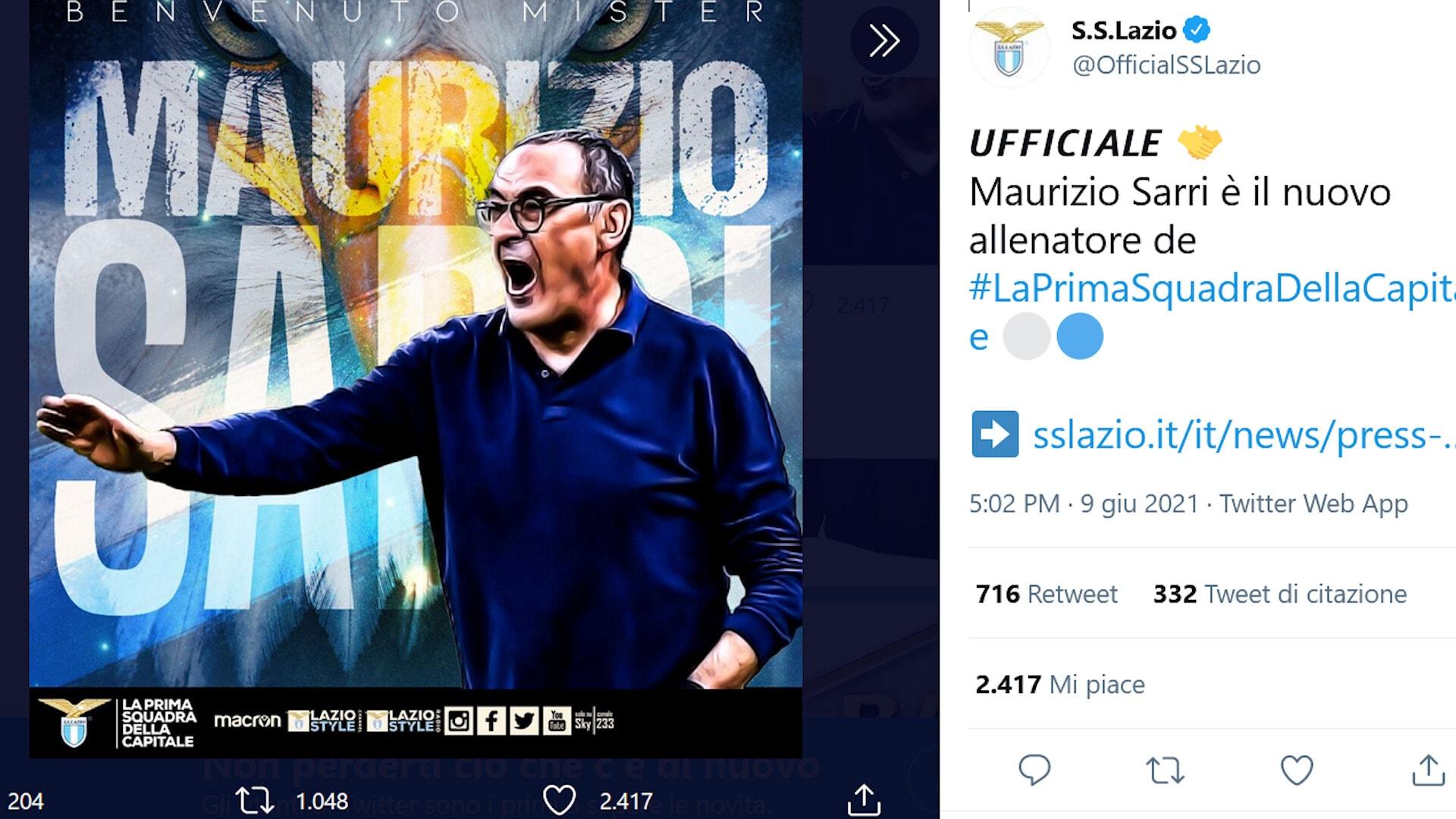 Ufficiale: Sarri è il nuovo allenatore della Lazio