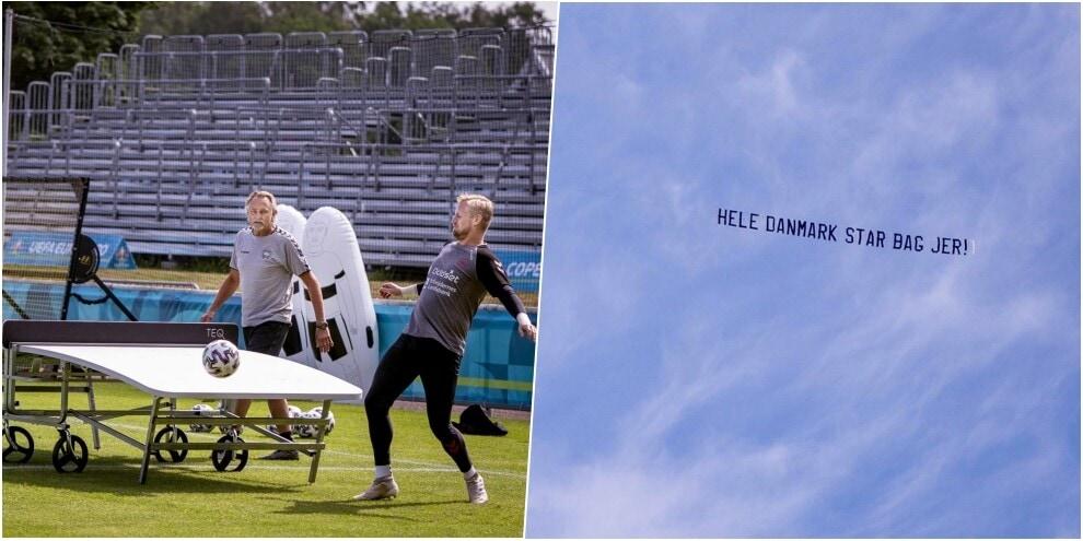 Euro 2020, Danimarca: teqball e striscione d'augurio... in cielo
