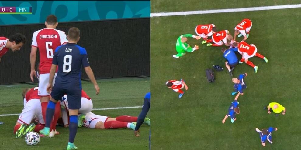 Eriksen crolla in campo durante Danimarca-Finlandia
