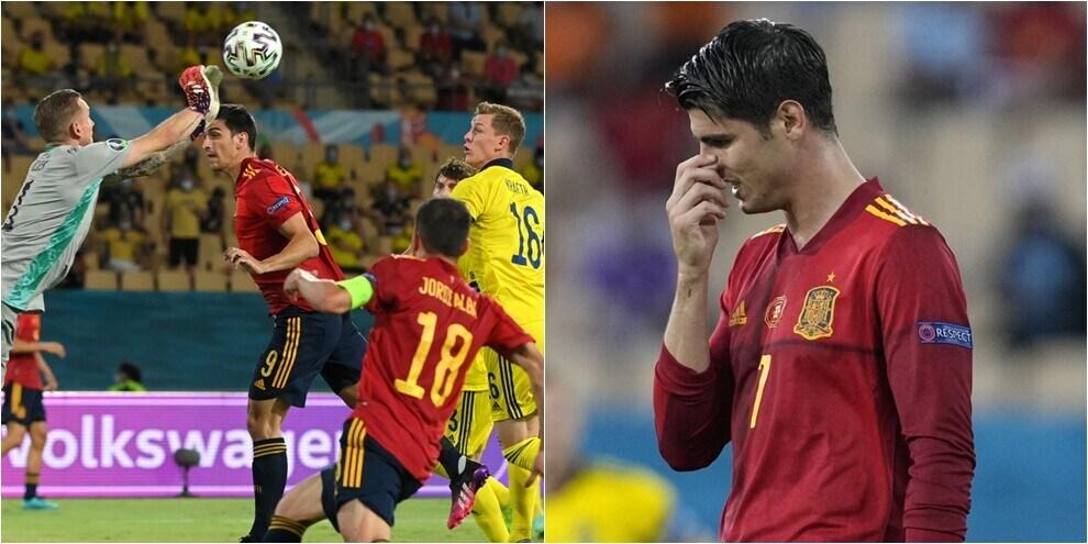 Spagna, solo 0-0 con la Svezia: Morata sbaglia, Olsen insuperabile