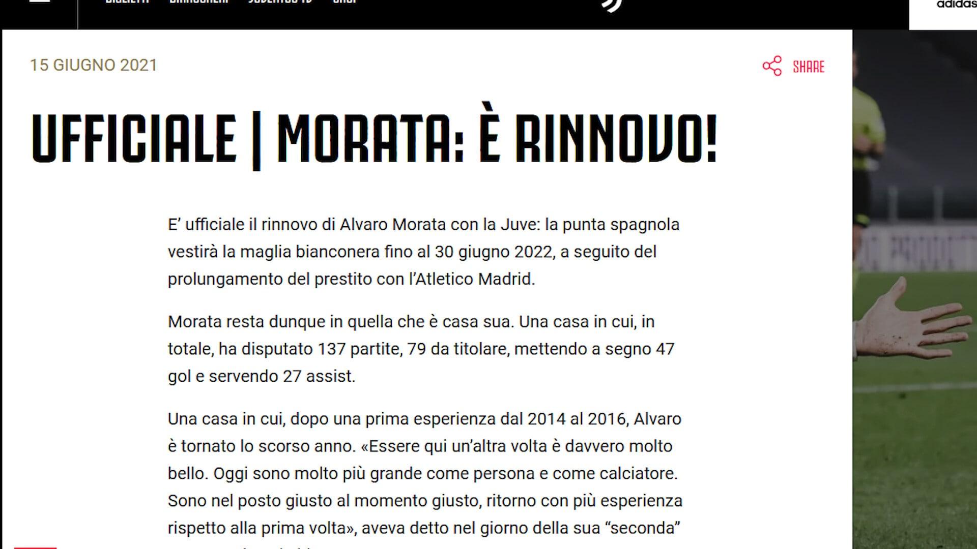 Ufficiale, Juve: rinnovato il prestito di Morata fino al 2022