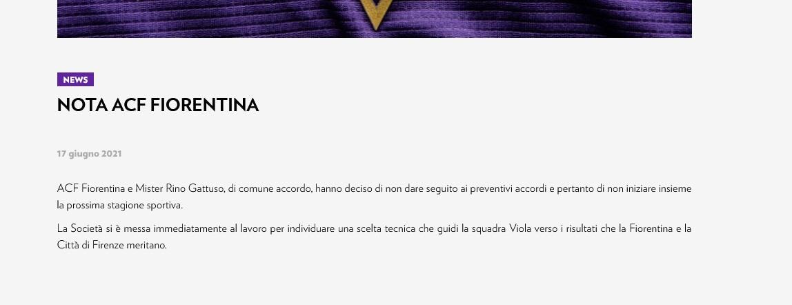 Ufficiale: la Fiorentina e Gattuso si separano