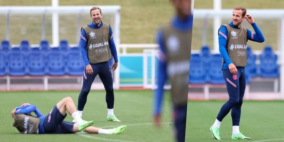 Inghilterra, Kane sorride mentre Foden fa finta di essersi infortunato