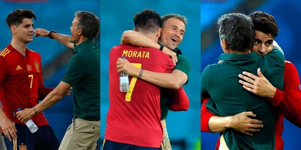 Morata trova il gol con la Spagna: l'abbraccio con Luis Enrique
