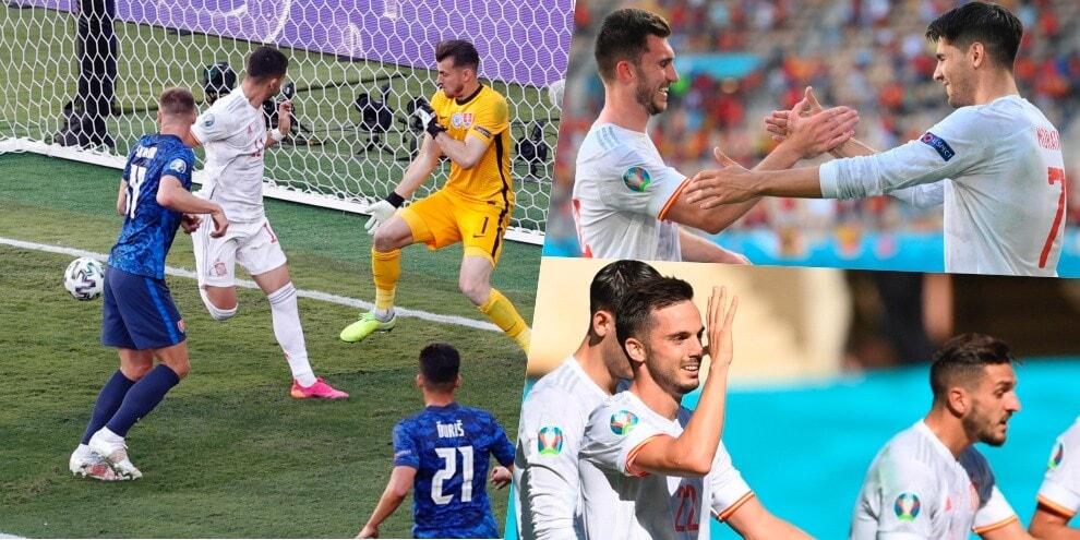 """Euro 2020, spettacolo Spagna: tacchi e """"manita"""" alla Slovacchia"""