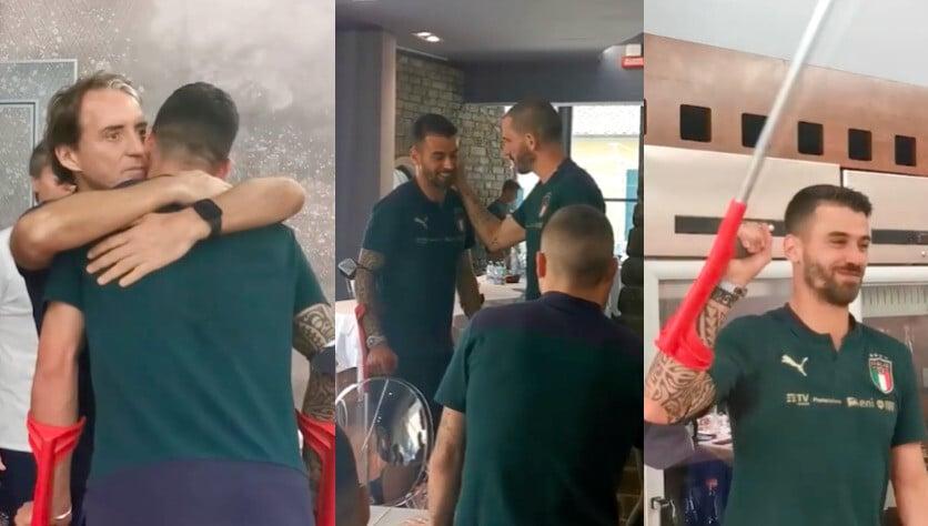 Italia, emozioni a Coverciano: applausi e abbracci per Spinazzola