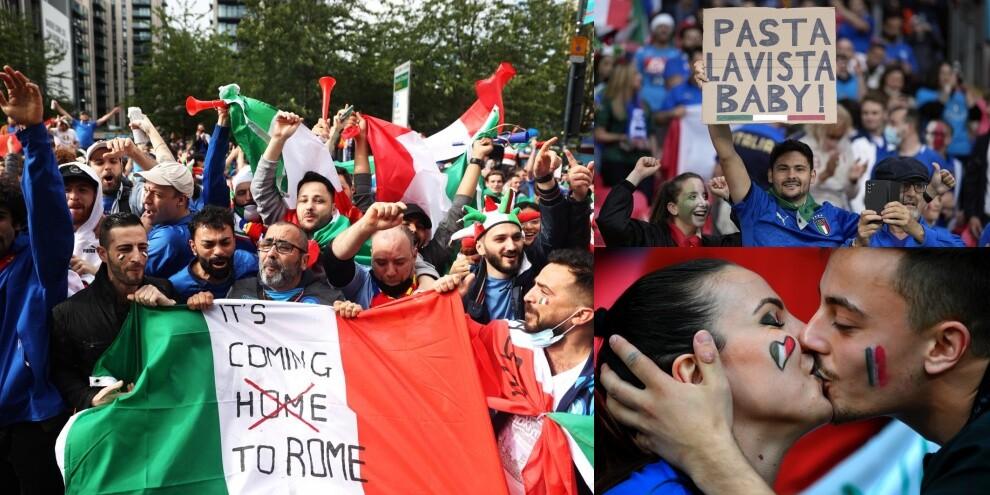 Italia-Spagna: l'entusiasmo dei tifosi a Wembley