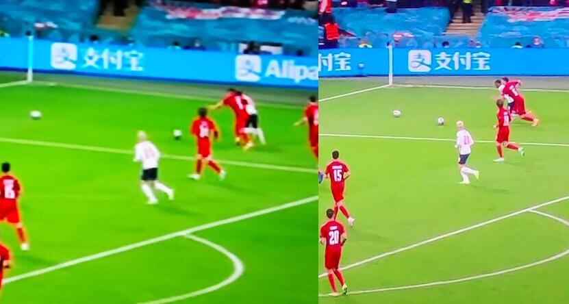Inghilterra-Danimarca, prima del rigore ci sono due palloni in campo