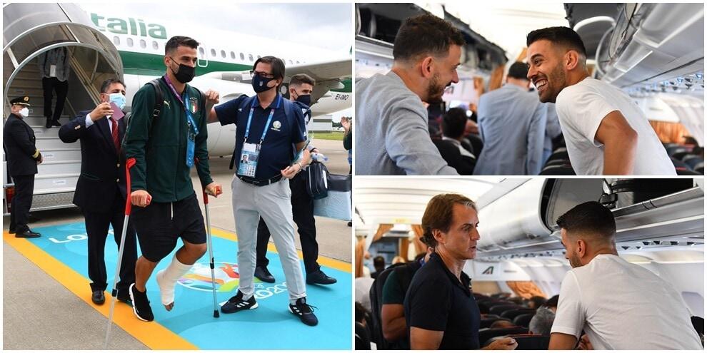 L'Italia a Londra per la finale: dall'aereo scende anche Spinazzola