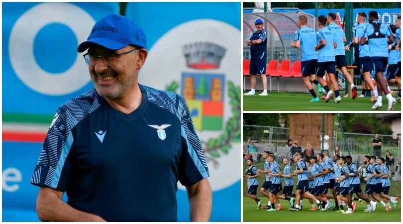 Lazio, il primo giorno di Sarri: risate, corse e sudore