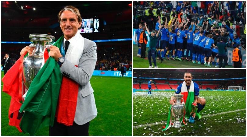 Trionfo Italia: la festa in campo di Mancini e degli azzurri