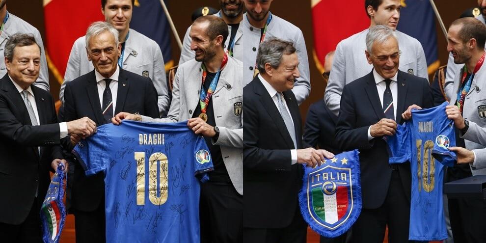 L'omaggio dell'Italia a Draghi: la maglia numero 10 della Nazionale