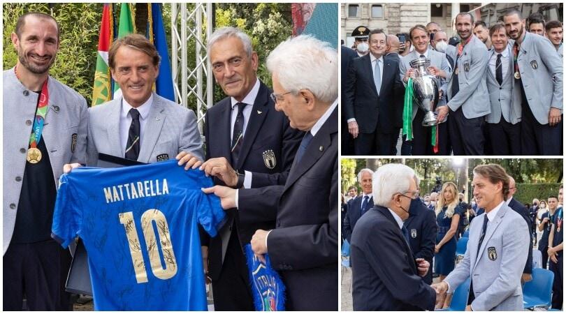 Draghi e Mattarella ricevono gli azzurri: è festa per i campioni d'Europa