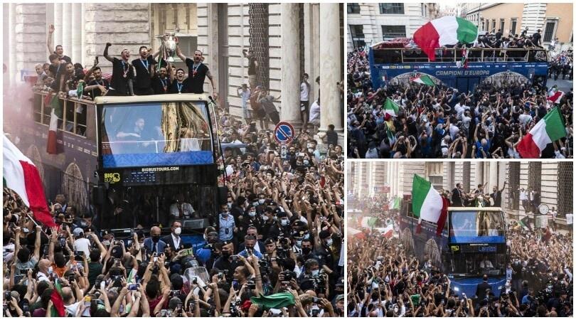 Festa Italia a Roma: giocatori in delirio tra i tifosi