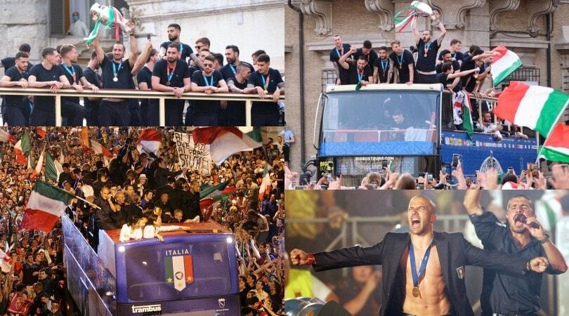 Il delirio del 2006, la favola del 2020: le feste sul bus dell'Italia