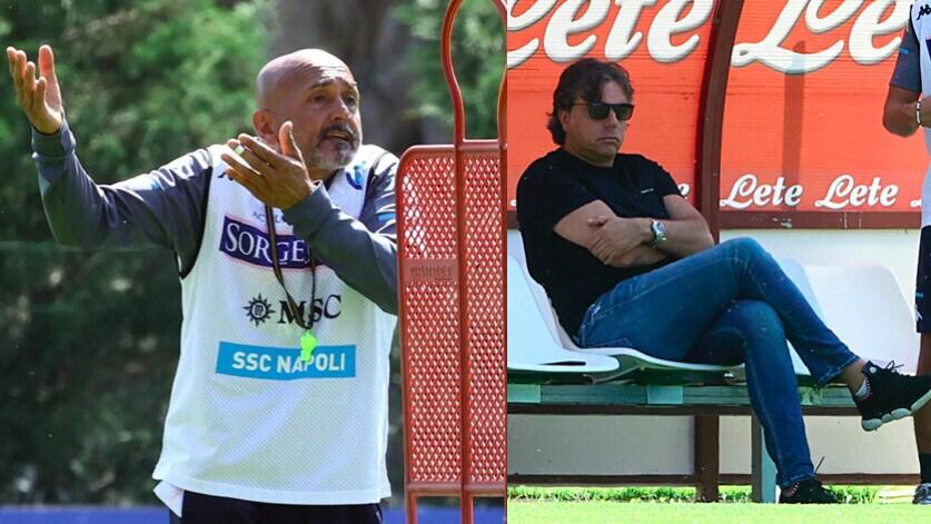 Napoli: Spalletti show in allenamento, Giuntoli osserva in panchina