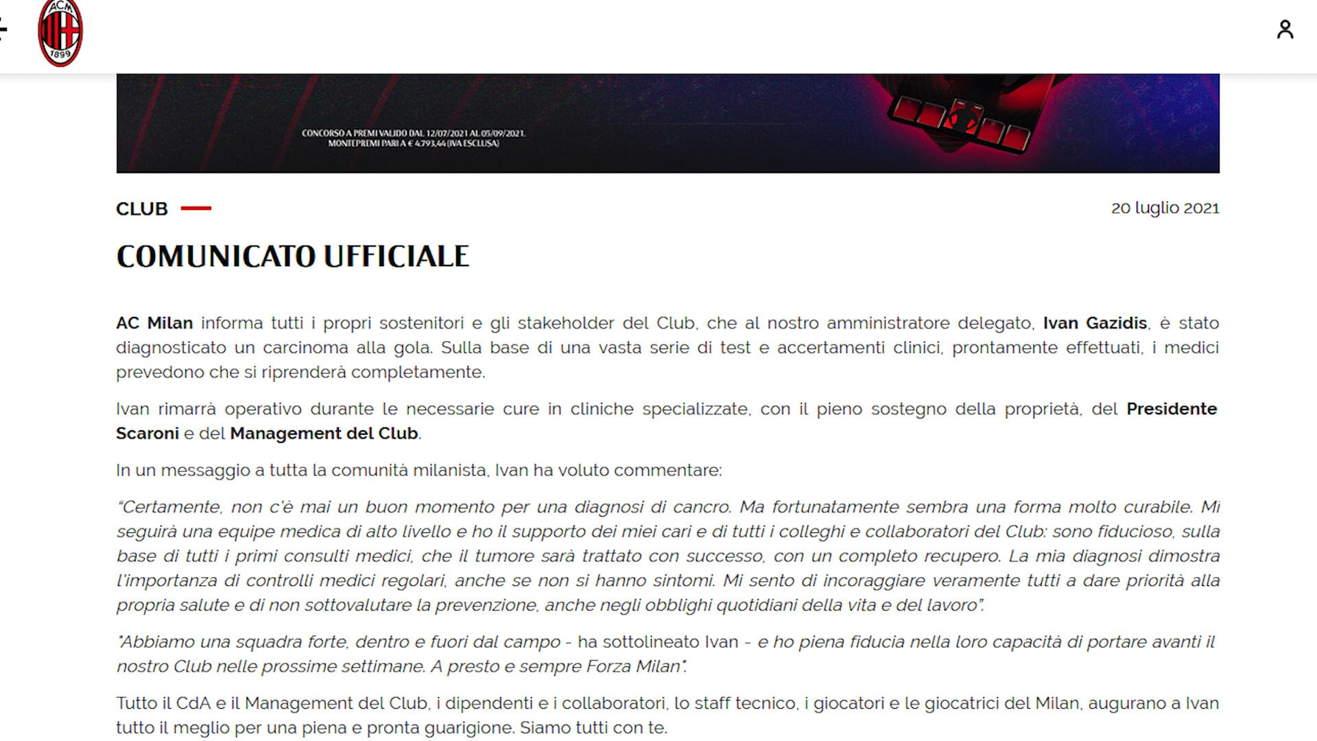 Il Milan comunica una notizia shock: Gazidis ha un tumore alla gola