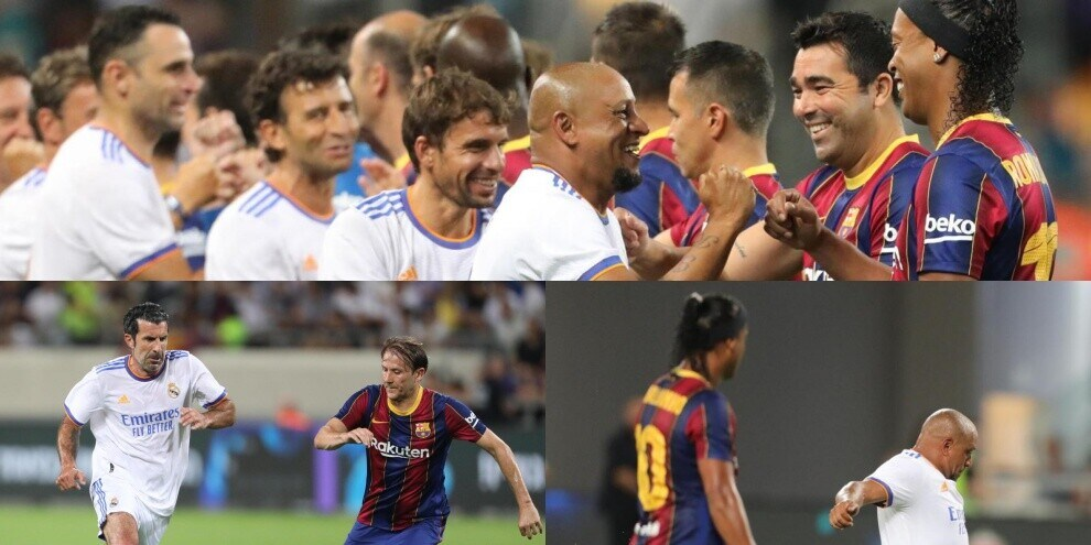 El Clasico Legends, che show con Figo e Ronaldinho