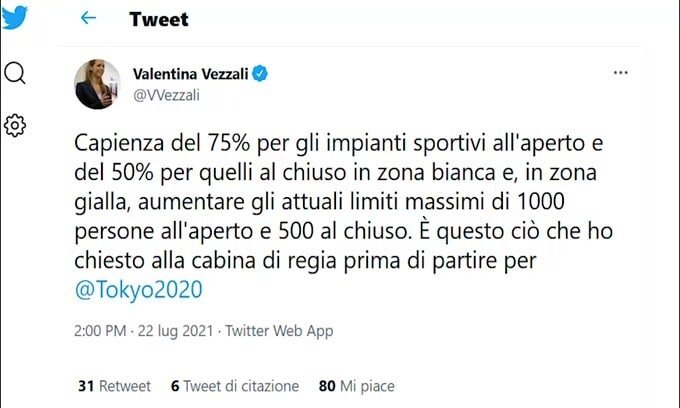"""La richiesta di Vezzali: """"75% capienza impianti all'aperto e 50% al chiuso"""""""