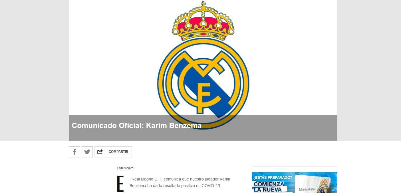 Real Madrid, Karim Benzema positivo al Covid-19