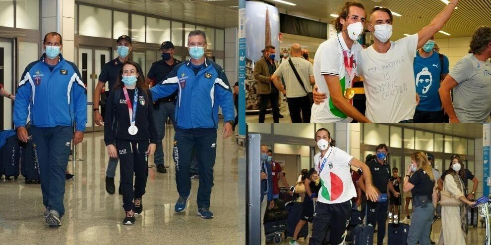 Tamberi e Vanessa Ferrari rientrati da Tokyo: applausi a Fiumicino