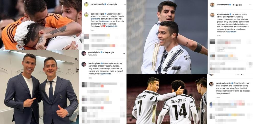 Da Dybala a Pinsoglio, saluti a Cristiano Ronaldo