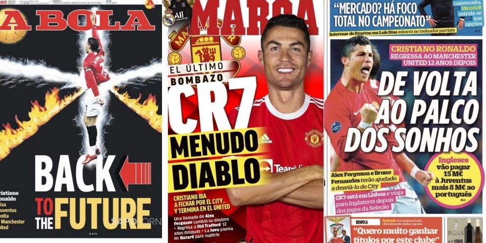 """""""Ritorno al futuro"""" di Ronaldo al Manchester United: le prime pagine"""