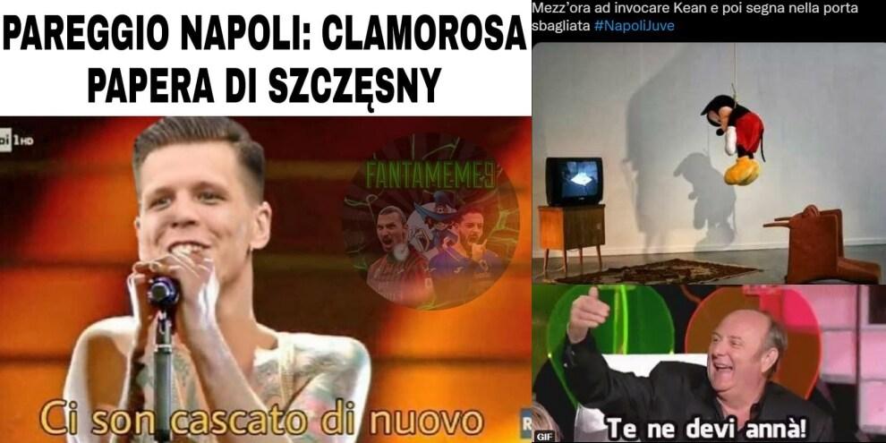 Napoli-Juve, quanti errori: Szczesny e Kean bersagli dell'ironia social