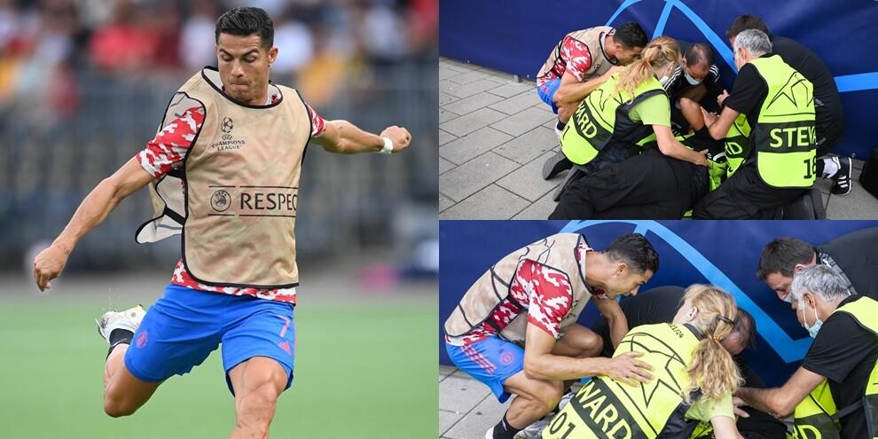 Cristiano Ronaldo manda ko una steward... con un tiro!